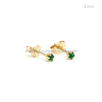 4ff9ed70ca310 14k Gold Single Stone Natural Emerald Tiny Delicate May Birthstone Stud  Earrings - Buy Tiny Delicate May Birthstone Stud Earrings,Green Stone Stud  ...