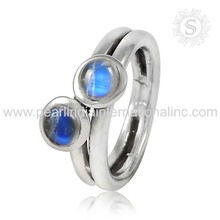 Shiny Rainbow Moonstone 925 Sterling Silver Gemstone Ring Wholesale Silver Jewelry