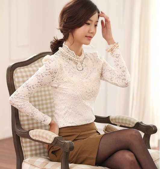 9bda024c558b JOL319 Illusion lace top long sleeves mermaid said mhamad wedding dress  Source · 2018 100 Warranty High Neck Knitted Office Long Sleeve Blouses Tops
