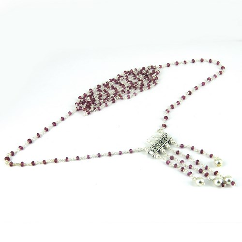 Beads Setting Gemstone Red Garnet 925 Sterling Silver Jewelry Necklace, Wholesale Silver Jewelry, Silver Jewelry 925