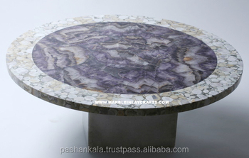 Gemstone Amethyst Round Dining Table Top   Buy Amethyst Stone Table  Top,Agate Table Top,Restaurant Round Stone Table Tops Product On Alibaba.com