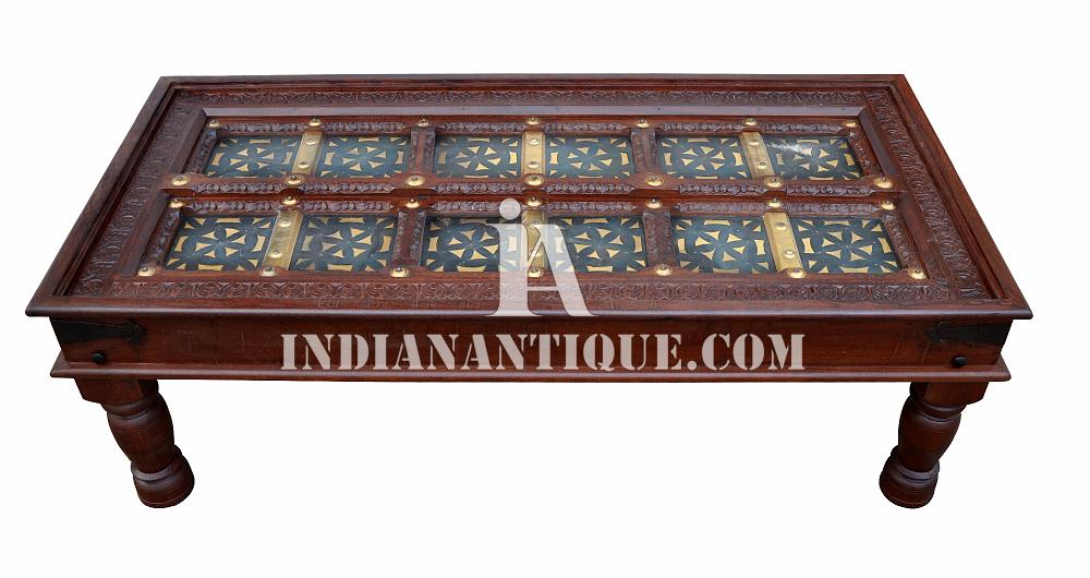 Solid Wooden Hand Carved Indian Coffee Table With Glass Top