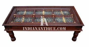 SOLID WOODEN HAND CARVED INDIAN COFFEE TABLE WITH GLASS TOP   INDIAN  ANTIQUE FURNITURE   ANTIQUE