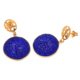 Big Round Hydro Blue Chalcedony Micron Gold Plating Drop Earring