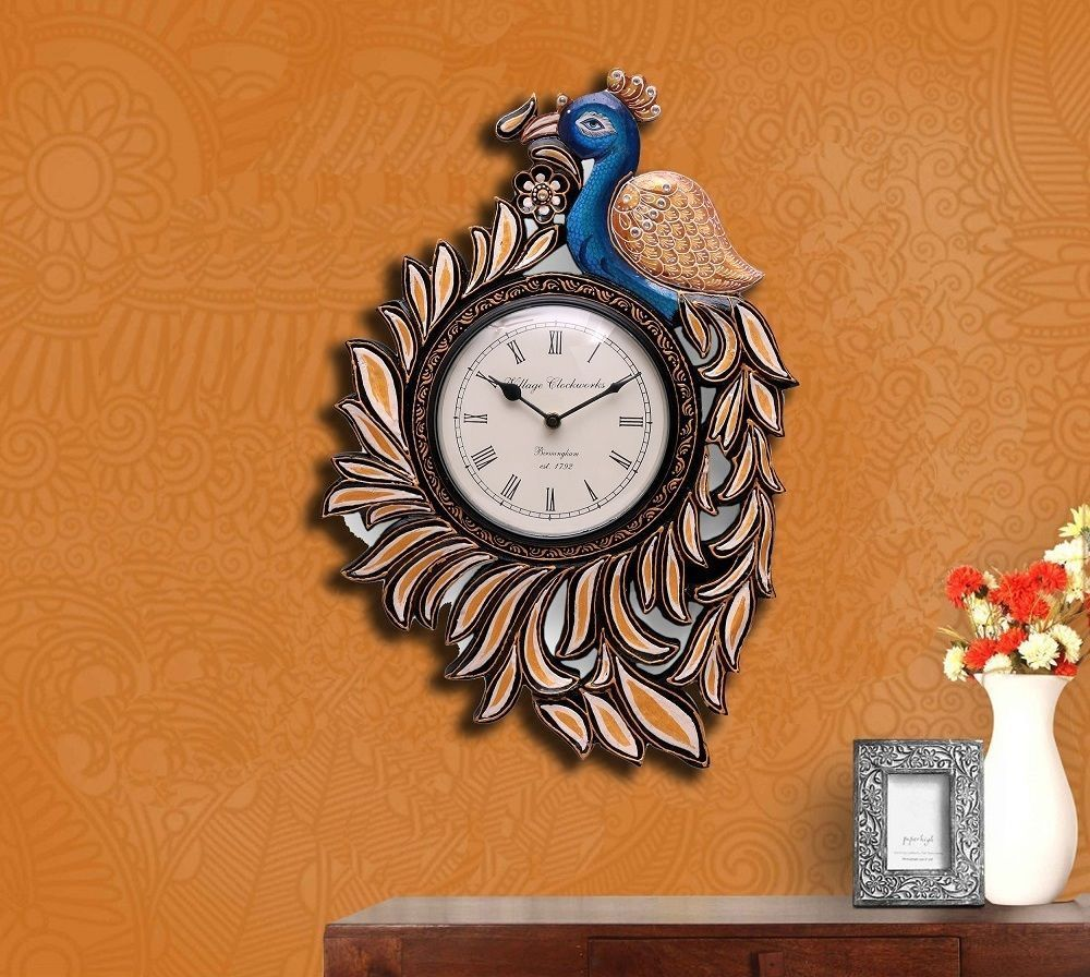 Decorative wall clock wood handmade wall hanging peacock painting decorative wall clock wood handmade wall hanging peacock painting art home decor buy wooden art home decorationswooden sculpturelarge wall clock product amipublicfo Choice Image