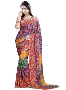 cb591620d8 Printed Bandhani Bandhini Bandhej Leheriya Tie and Die Traditional Indian  Rajasthani Gujrati Saree