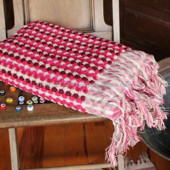 handloomed turkish towel with knot fringes tassels colorful pom pom turkish towel handmade - Turkish Towels