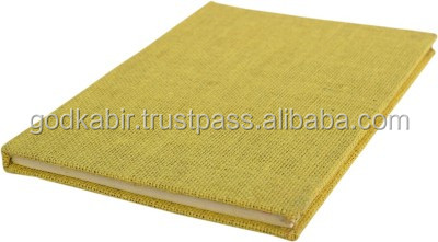 Handmade Notebook -Jute Fabric Cover-Pasted Binding Size 25x18x1.3 Cm handmade paper notebook