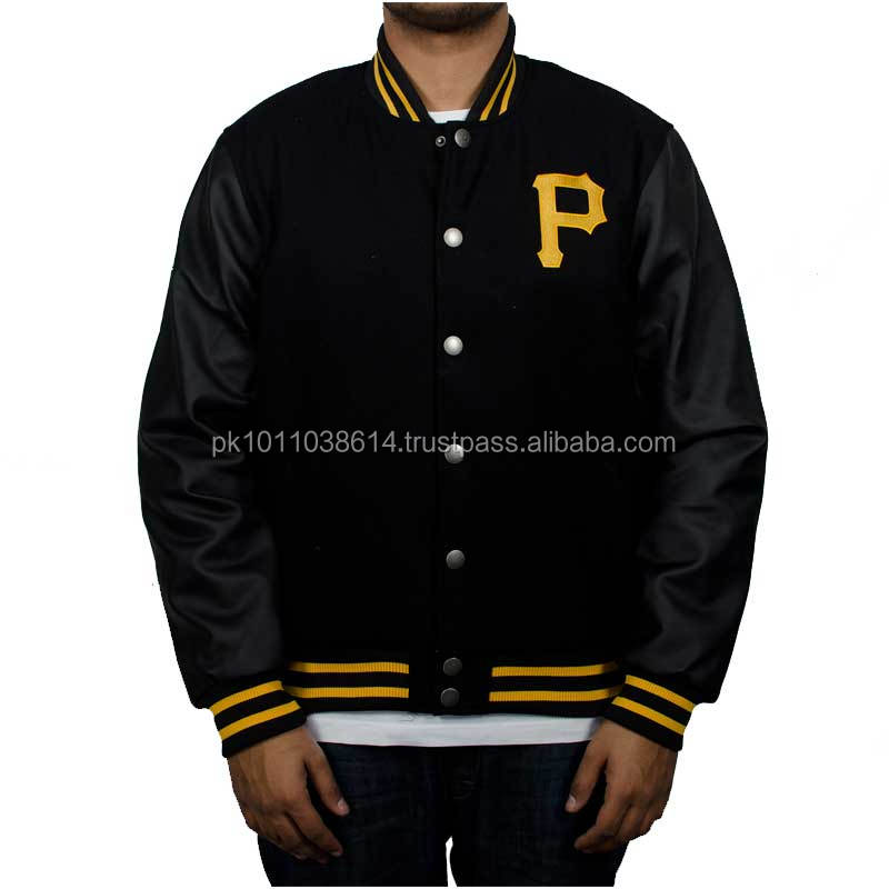 wool body leather sleeve varsity jacket with embroidery logo all wool varsity jackets