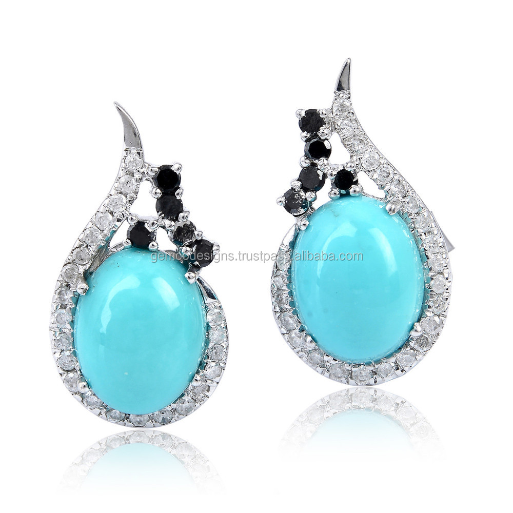 Turquoise Stud Earring 18kt Gold Single Cut Diamond Gemstone Gemco