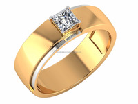 Yellow- White Gold Diamond Rings Fine Lovers 14kt IGI Certified Diamond Solitaire 0.50ct For Male