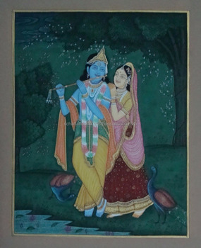 Hindu God Krishna Goddess Radha Painting Artwork Vedic Yoga Rare Divine Love