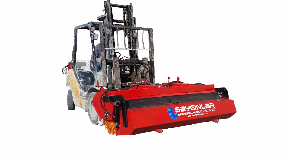 Forklift Mounted Road Sweeper With Bucket Forklift Sweeper Attachments