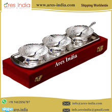Royal Style Hot Selling New Design Silver Finish Bowl Set Corporate,Christmas,Diwali Gift Set With Beautiful Wooden Box