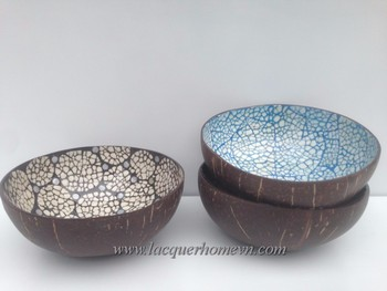 Amazing HT5733 Eggshell Coconut Bowl Vietnam   Ha Thai Lacquer Factory Awesome Design