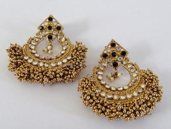 Cz Chandelier Earrings Indian Bridal Bollywood Long Punjabi Earring Victorian For Women