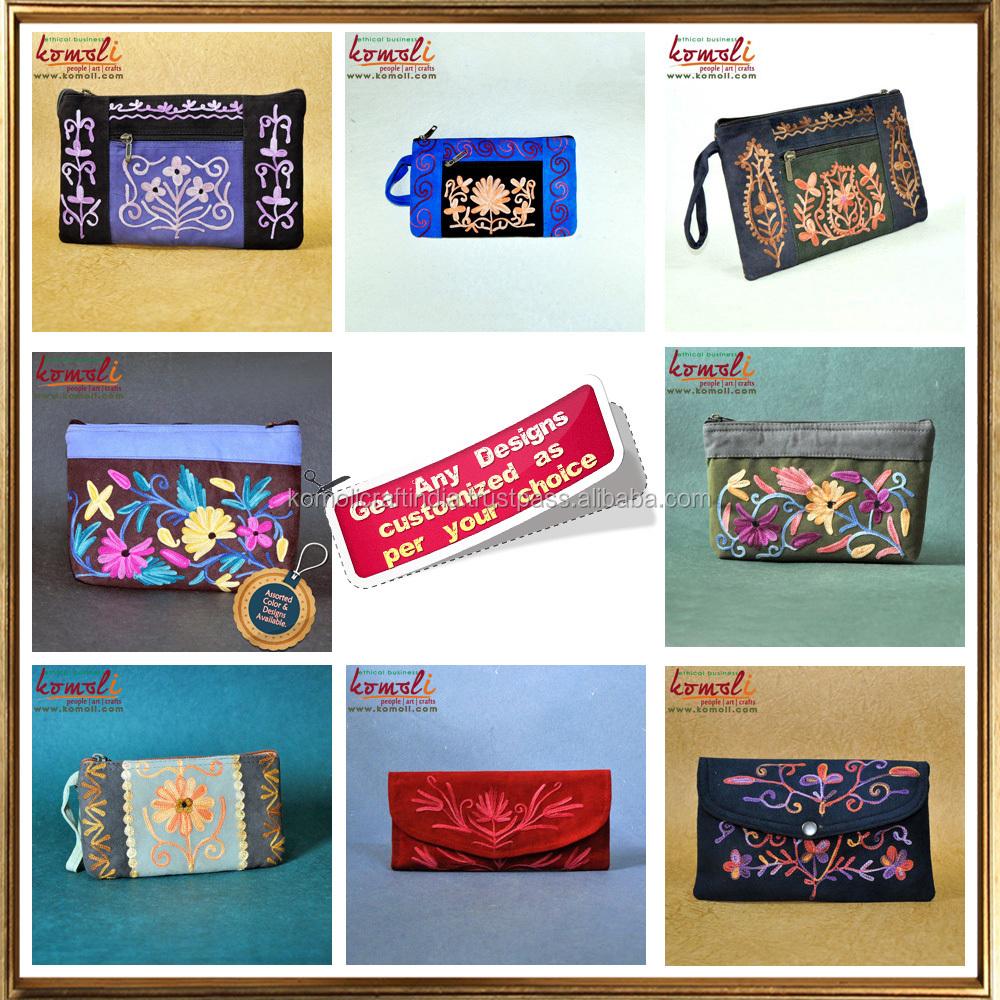 Multi pocket floral design handmade suede leather sling