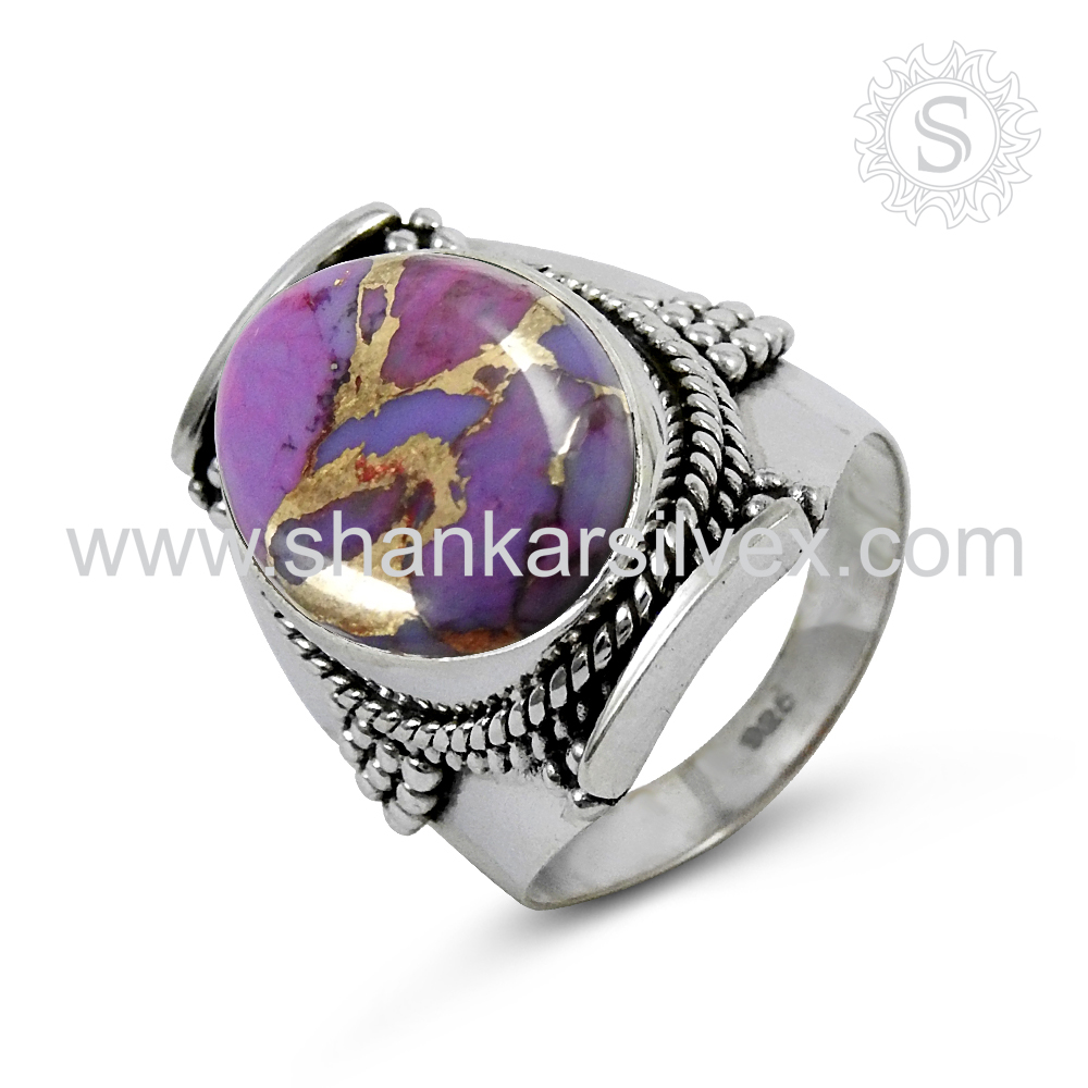 Offers Ladies Jewelry Purple Copper Turquoise Ring Wholesale 925 Sterling Silver Jewelry Indian Silver Jewelry