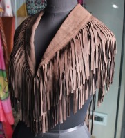 wholesale plus size women clothing open front fringed suede jacket high quality leather jacket for girls