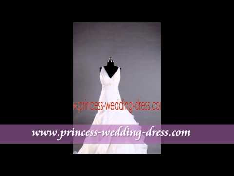 Cheap blue and white v neck princess wedding dresses 2012