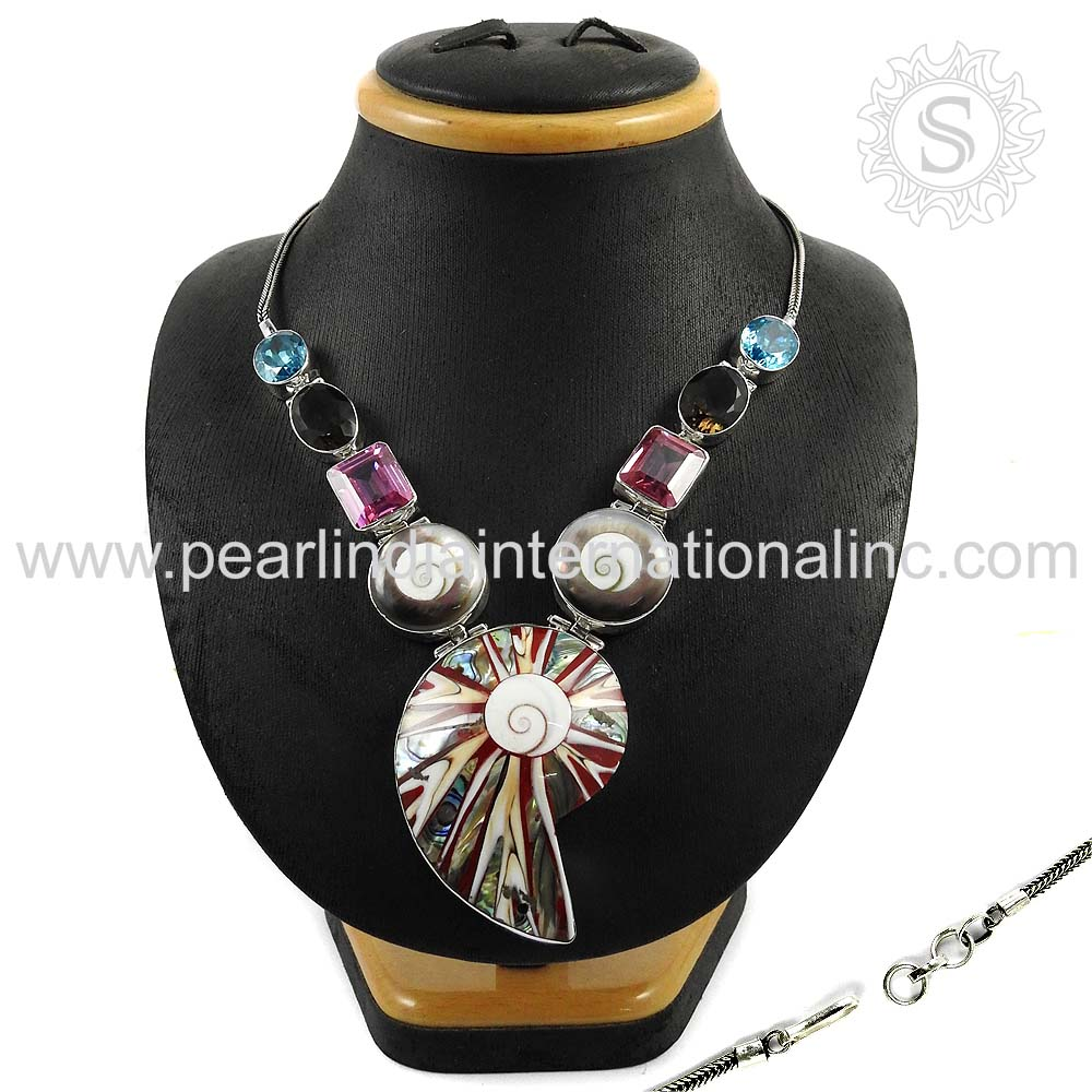 Nailing Design Multi Gemstone Necklace Silver Jewelry 925 Sterling Silver Jewelry Indian Silver Jewelry Supplier