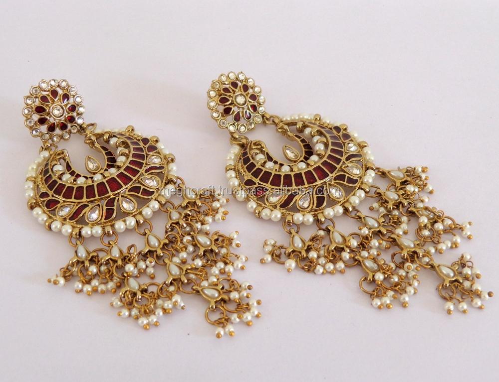 Indian Chandelier Pearl Earrings Whole Punjabi Stani Bridal Oversize Long Earring Wedding