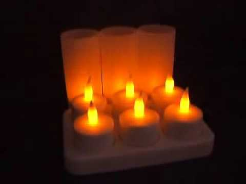 Rechargeable Candle Lights Set of 6 led tealights, flameless led candles)