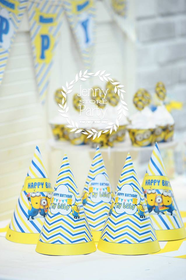 Funny Minion theme Party Hat Birthday Celebration Special Striped Pattern Yellow Party paper hat