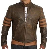 Men Brown Leather Distressed Jacket