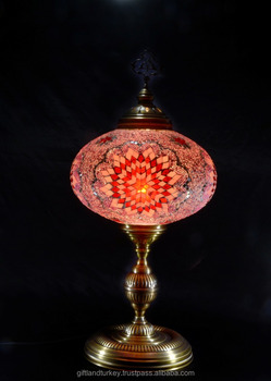 Made In Turkey Pink Blown Glass Table Lamp