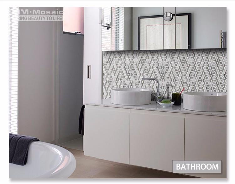 Mm mosaico di pietra mix di vetro rombo mosaico piastrelle cucina