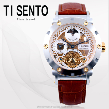 Ti Sento Automatic Watch Mens Skeleton Stainless Steel Sapphire ...