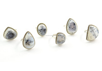Sterling silver 925 rings handmade jewelry Dendrite agate jewelry wholesale