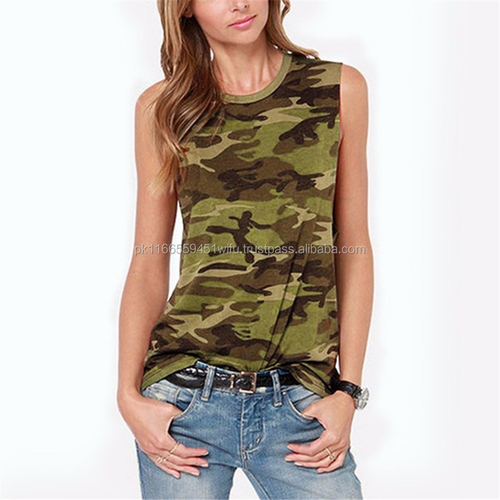 b75b540c71a2a women's camouflage printed tank tops, allover printed new women's tank tops.
