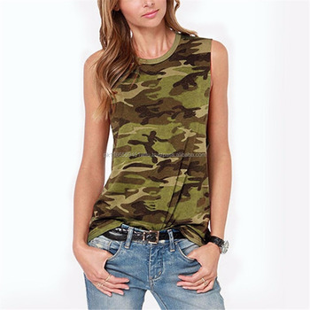 ab3707f9142c04 Women s Camouflage Printed Tank Tops
