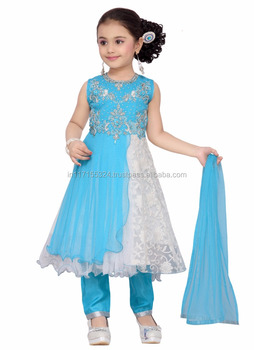 1613f36d1 Nuevo diseño de los cabritos baratos desgaste Mumbai fábrica diseñador  partido desgaste anarkali vestido-girls