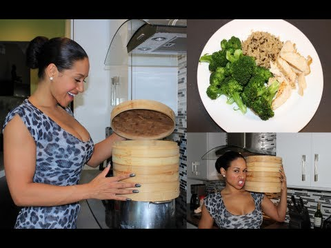 Cheap rice steamer bamboo find rice steamer bamboo deals on line at get quotations clean bamboo steamer dinner steamed chicken and broccoli with wild rice forumfinder Images