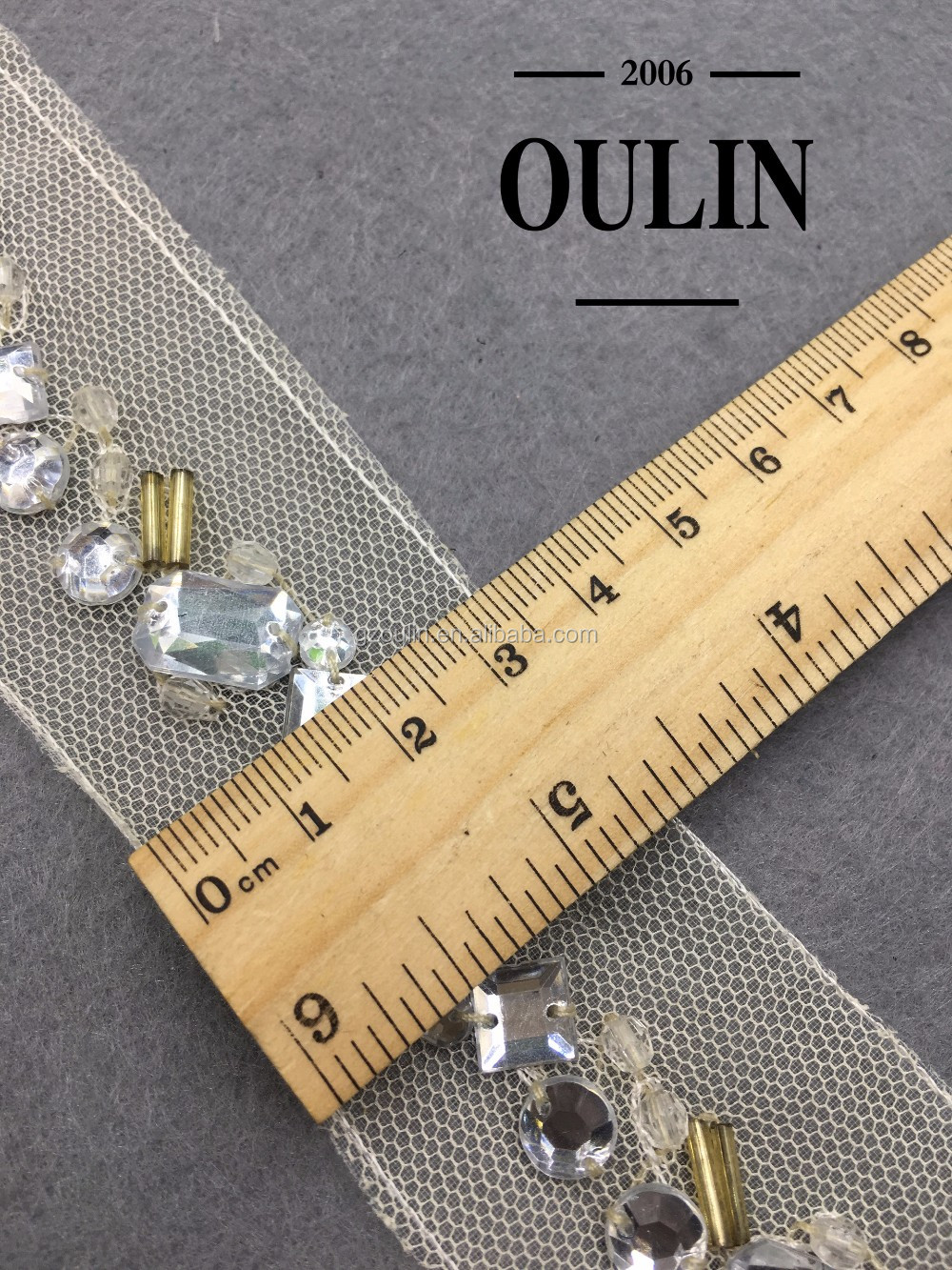 rhinestones trim polyester lace garment trim Knitted Handmade white rhinestone lace for garments