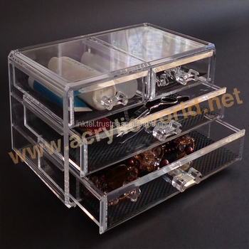 Injection 6 Drawer Acrylic Makeup Organizer Countertop Cosmetic Display Container