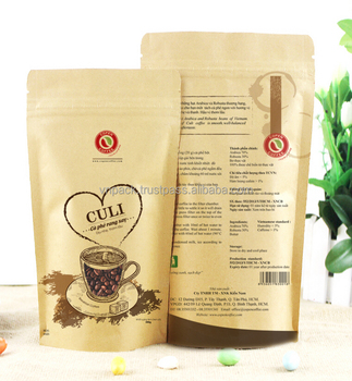 Kraft paper Coffee bag with window, zipper and high quality