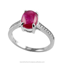 Great Quality Natural Pink Ruby 925 Sterling Silver Prong Setting Ring, Fine Silver Jewelry, Wholesale Silver Jewelry