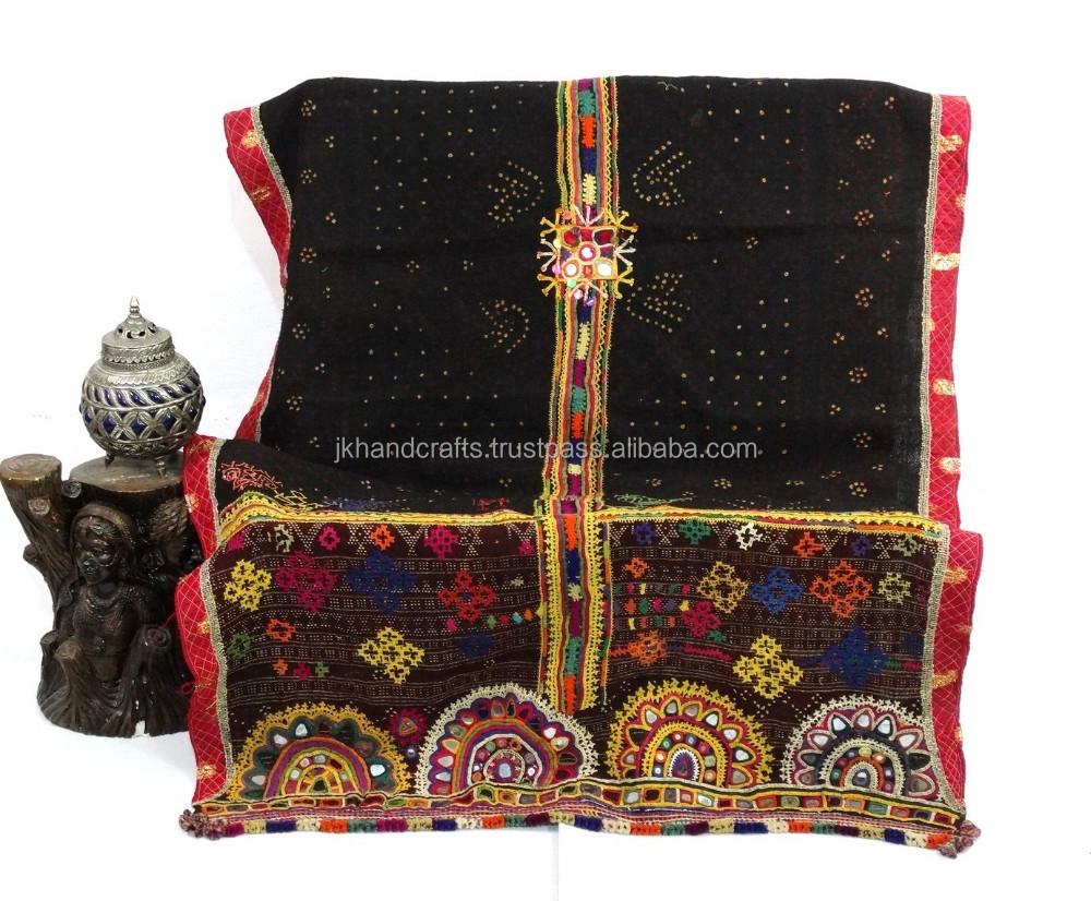 Vintage Banjara Rabari Lana Scialle e Throw Specchio Lavoro & Ricamato Abbigliamento e accessori Asia centrale e meridionale