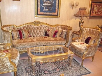 Luxury Antique Cream Red Gold Velvet Traditional Sofa