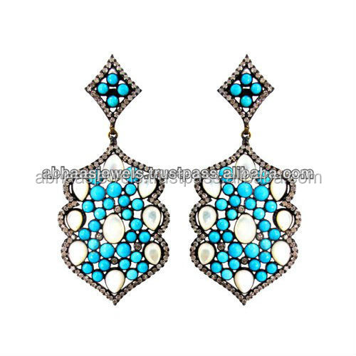 Turquoise Gemstone & Pearl 925 Sterling Silver Designer Long ...