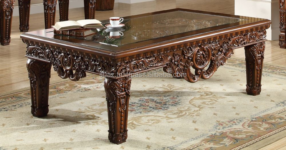 Antique Classic Hand Carved Wood Centre Table Solid Wood Carved