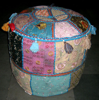 India Printed Cotton Filling Decorative Pouf Indian Traditional Adorable Pouf Filling