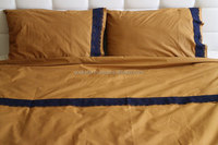 unique Twin / Twin XL Duvet Cover Full Set Trimmed Lace Mustard Color Cotton Quilt Cover with pillowcase doonas quilt cover set