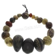 Wrist Mala Bodhi with nylon elastic stretch cord Peach Pit 8x6mm-28x18mm Sold Per Approx 6.5 Inch Strand 1077993