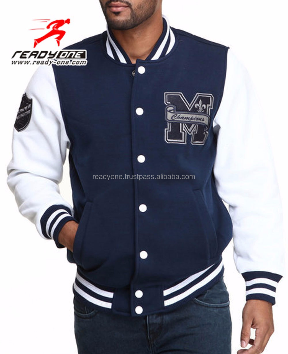 Vasity Ny Baseball Jacket With Real Leather Sleeves/ Varsity ...