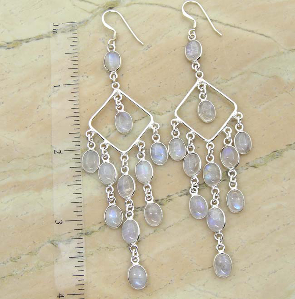 22.00ctw Rainbow Moonstone 925 Sterling Silver Dangle Earring Chandelier Jhumka Earring Jewelry